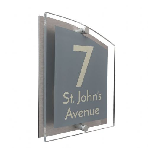 Arc Shape - Clear Acrylic House Sign - Mid Grey Colour with Double Cream text in Font  3